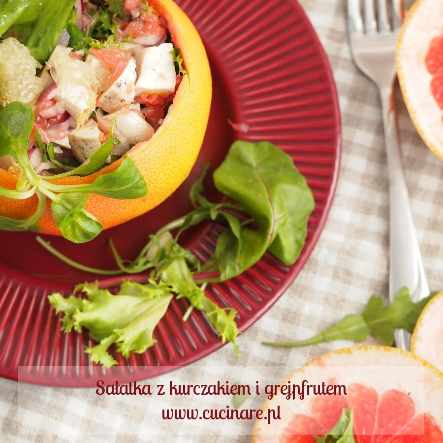 sałatka z kurczakiem i grejpfrutem